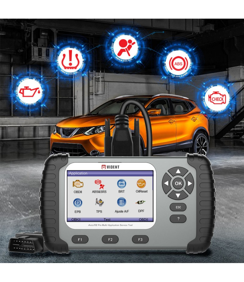 VIDENT iAuto 702 Pro Multi-applicaton Service Tool Support ABS/SRS/EPB/DPF Update to 19 Maintenances 3 Years Free Update Online