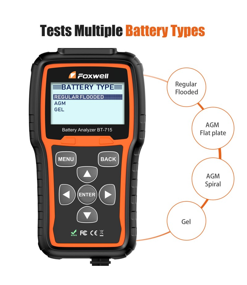 Foxwell BT-715 Battery Analyzer Support Multi-Language Replaced Foxwell BT-705