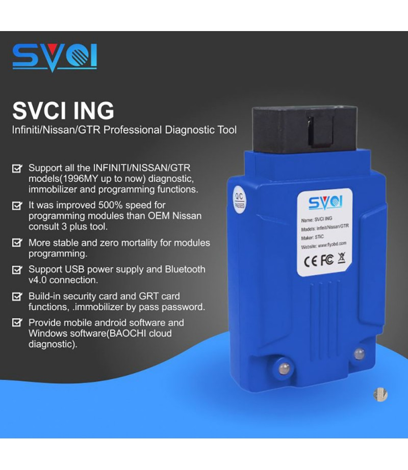 SVCI ING Infiniti/Nissan/GTR Professional Diagnostic Tool Support Programming Update Version of Nissan Consult-3 Plus