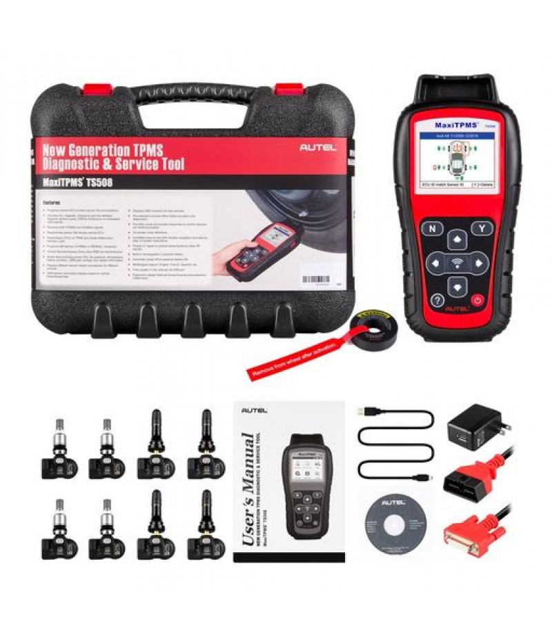 Autel MaxiTPMS TS508K Tire Pressure Monitoring System Reset TPMS Replacement Tool with 8pc Sensors