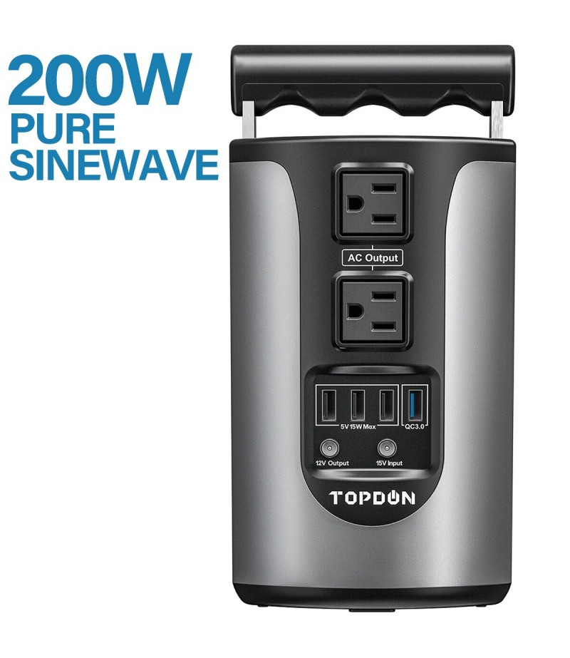 Topdon H200 Portable Energy Storage Power Supply 185WH Capacity 200W Pure Sinesave Energy Storage Power Supply  With 4 USB Ports
