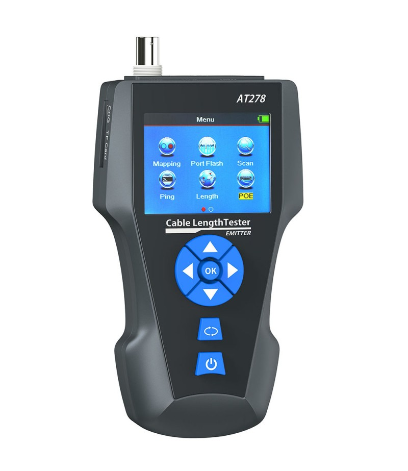 KOLSOL AT278 TDR Multi-functional LCD Network Cable Tester Tracker RJ45/RJ11/BNC/Metal Cable/PING/POE Cable Length Test With Port Flashing