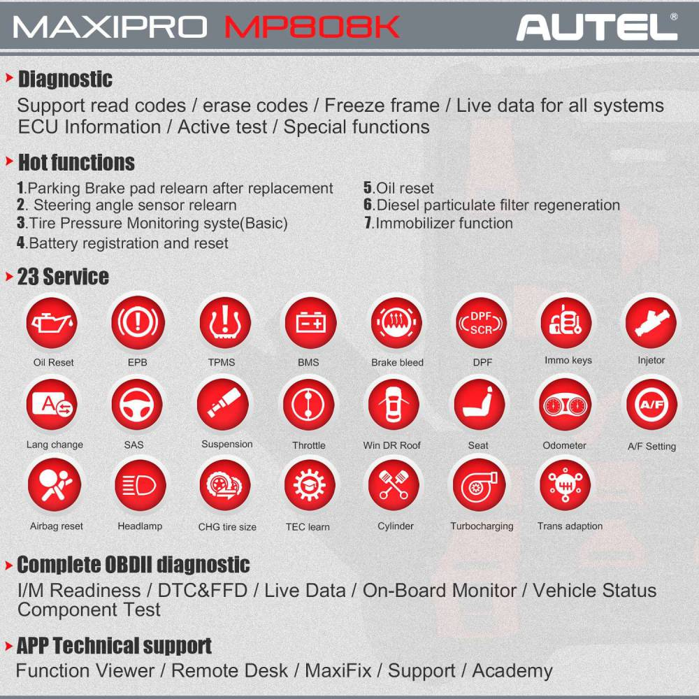 Autel MaxiPro MP808K functions